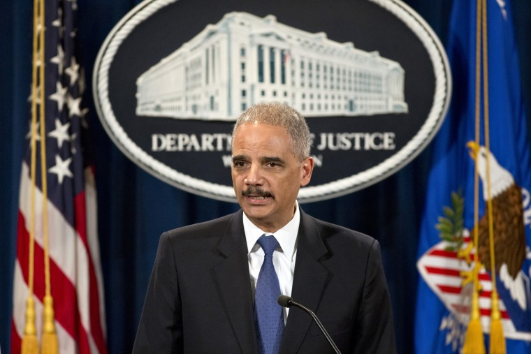 Attorney General Eric Holder speaks during a news conference at the Justice Department in Washington, Tuesday, May 14, 2013.  (AP Photo/J. Scott Applewhite)