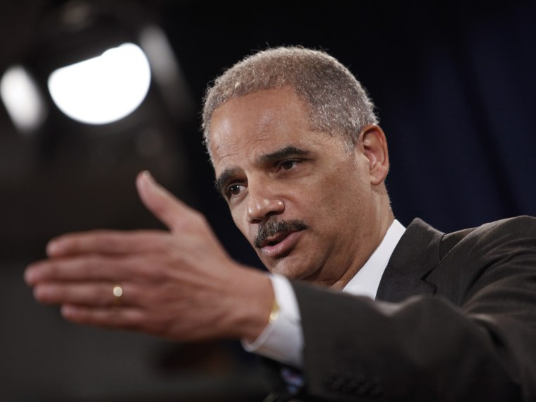 File Photo: U.S. Attorney General Eric Holder speaks during a news conference at the Justice Department, on December 19, 2012 in Washington, DC.  (Photo by Drew Angerer/Getty Images, File)