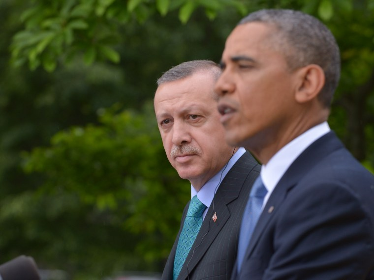 US President Barack Obama and Turkish Prime Minister Recep Tayyip Erdogan conduct a joint press conference in the Rose Garden of the White House on May 16, 2013 in Washington, DC. (Photo by Mandel Ngan/AFP/Getty Images)