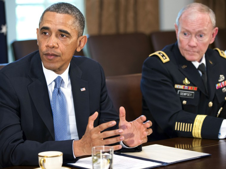 President Barack Obama speaks during a meeting with Joint Chiefs Chairman Gen. Martin Dempsey, left, Defense Secretary Chuck Hagel, and the service secretaries, service chiefs, and senior enlisted advisers to discuss sexual assault in the military in...