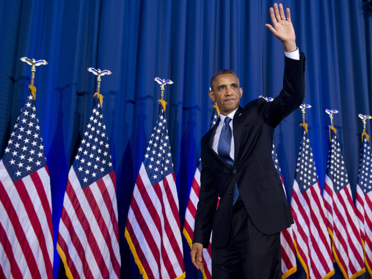 President Obama waves after speaking about his administration's drone and counterterrorism policies, as well as the military prison at Guantanamo Bay, at the National Defense University in Washington, DC, May 23, 2013. (Photo by Saul Loeb/AFP/Getty...