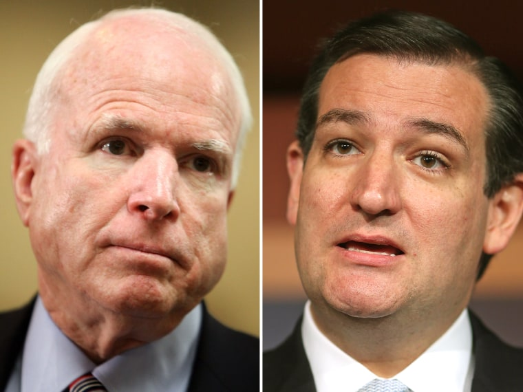 This digital composite shows (L-R) Sen. John McCain (R-AZ) as he speaks to the media  in the U.S. Capitol building May 14, 2013 in Washington, DC. (Photo by Allison Shelley/Getty Images) Sen. Ted Cruz (R-TX) as he holds a news conference at the U.S....