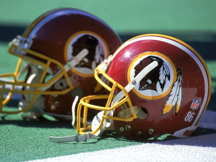 Washington Redskins helmets (Photo by  Doug Pensinger/Allsport  via Getty Images)