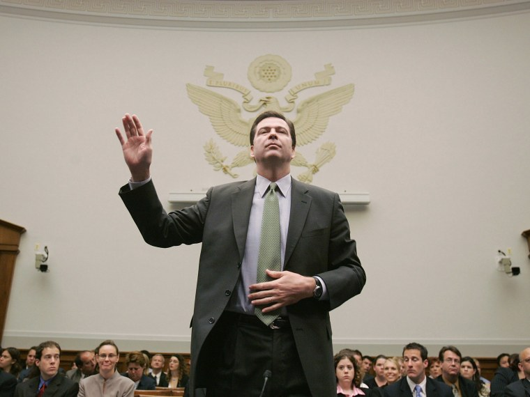 File Photo: The Honorable James Comey, Deputy Attorney General, U.S. Department of Justice, is sworn in before delivering testimony during the House Judiciary Committee hearing concerning reauthorization of the PATRIOT Act June 8, 2005 on Capitol Hill...