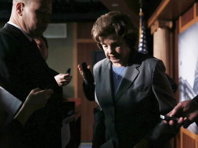 Chairman the U.S. Senate Select Committee on Intelligence Sen. Dianne Feinstein (D-CA) answers questions from members of the media June 6, 2013 on Capitol Hill in Washington, DC. Feinstein and Chambliss spoke on the millions of Verizon customers phone...