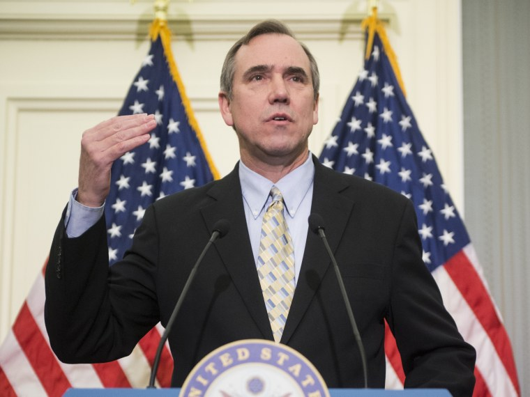 Sen. Jeff Merkley, D-Ore., speaks during the news conference to oppose the chained Consumer Price Index to cut benefits for Social Security and disabled veterans on Thursday, Jan. 31, 2013. (Photo By Bill Clark/CQ Roll Call)