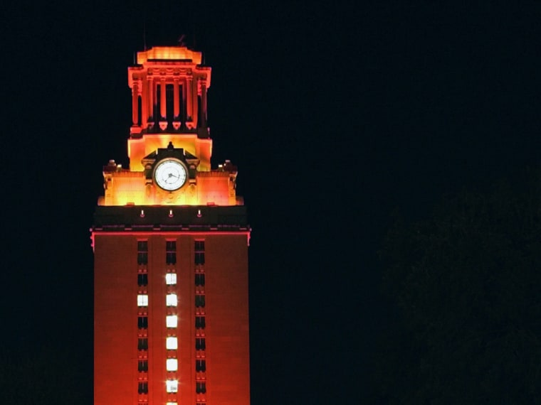 File Photo: This Jan. 5, 2006 file photo shows the Main Tower at the University of Texas in Austin, Texas. The Tower bathed in orange light and bearing a huge number one, celebrates the football team's win over Southern California in the Rose Bowl for...