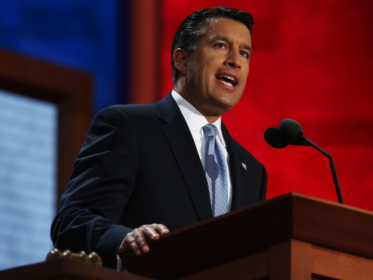 File Photo: Nevada Gov. Brian Sandoval speaks during the Republican National Convention at the Tampa Bay Times Forum on August 28, 2012 in Tampa, Florida. (Photo by Chip Somodevilla/Getty Images, File)