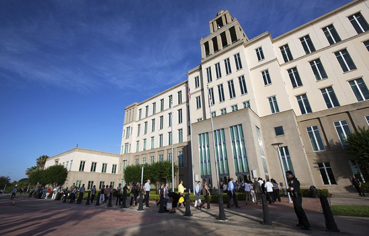 The Seminole County Courthouse before jury selection begins for the trial of George Zimmerman,  charged with second-degree murder for last year's killing of  Trayvon Martin, in Sanford, Florida. Zimmerman has pleaded not guilty. (Photo by Scott Audette...