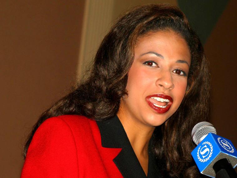 Erika Harold holds a press conference  in Atlantic City Beach, NJ. (Photo by John Barrett/Globe Photos/Zumapress.com)