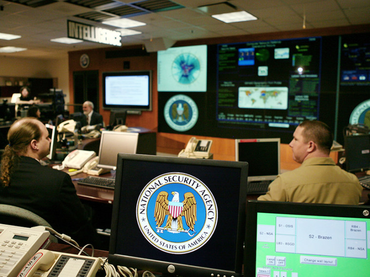 The National Security Agency (NSA) logo is shown on a computer screen inside the Threat Operations Center at the NSA in Fort Meade, Maryland, January 25, 2006. U.S. President George W. Bush visited the ultra-secret National Security Agency on Wednesday...