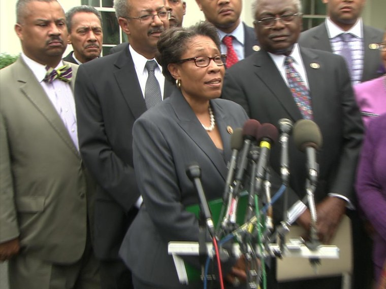 Congressional Black Caucus Chairwoman Marcia Fudge speaks to reporters outside the White House after she and fellow Caucus members met with President Obama.