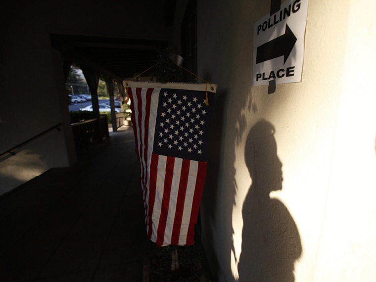 A voter's shadow is seen on the wall during the U.S. presidential election at the Altadena Town & Country Club in Altadena, California November 6, 2012.  (Photo by Mario Anzuoni/Reuters)