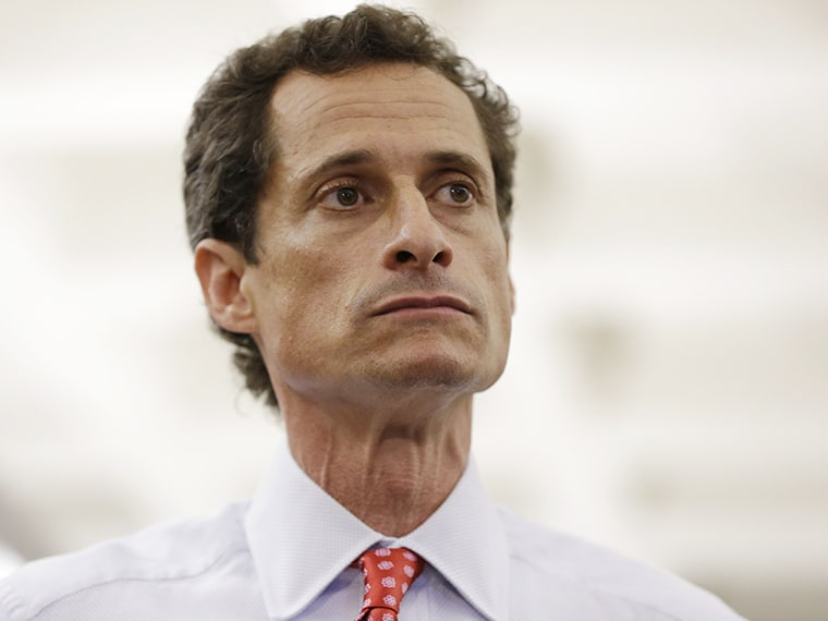 New York City Mayoral candidate Anthony Weiner takes reporters questions during a news conference at the Gay Men's Health Crisis headquarters, Tuesday, July 23, 2013, in New York. (Photo by Kathy Willens/AP)