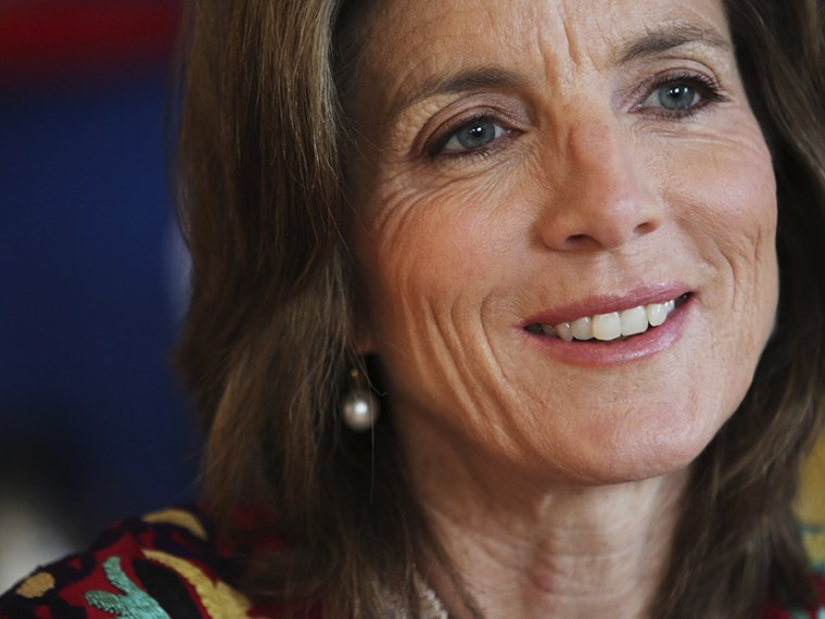 In this Tuesday, March 26, 2013 photo Caroline Kennedy smiles during an interview with the Associated Press in New York.  (Photo by Mary Altaffer/AP)