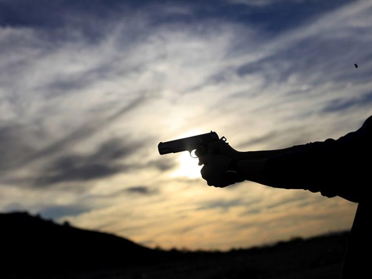 A man fires his handgun along a mountain range in Buckeye, Arizona January 20, 2013. (Photo by Joshua Lott/Reuters)