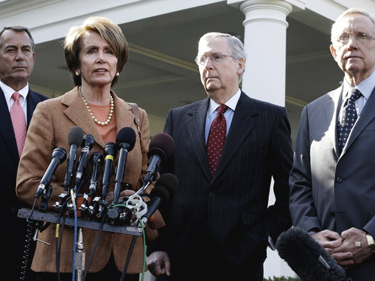 In this Nov. 16, 2012, file photo House Minority Leader, Nancy Pelosi (D-CA), second from left, House Speaker,John Boehner (R-OH), Senate Minority Leader, Mitch McConnell (R-KY), and Senate Majority Leader, Harry Reid (D-NV), speak to reporters outside...