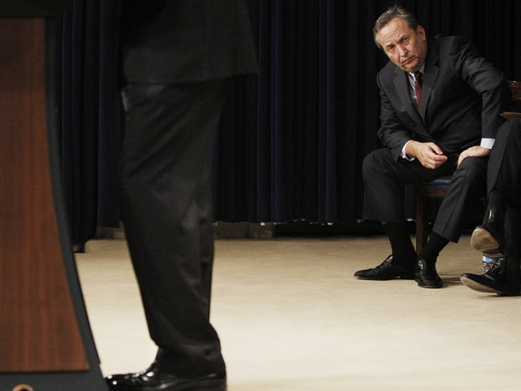 Director of the National Economic Council Lawrence Summers, right, listens to President Barack Obama, left, speak at the Fiscal Responsibility Summit, Monday, Feb. 23, 2009, in the Old Executive Office Building at the White House in Washington. (Photo...