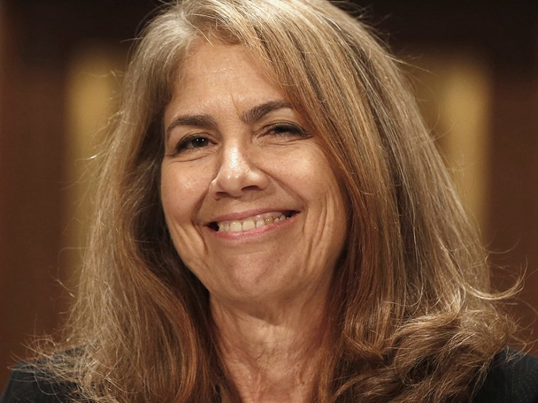 Nancy Jean Schiffer smiles at a confirmation hearing for her posting on the National Labor Relations Board while before the Senate Health, Education, Labor and Pension Committee on Capitol Hill in Washington, July 23, 2013.      (Photo by Larry Downing...