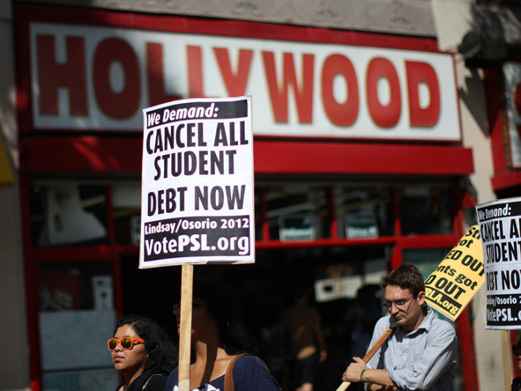 Students march on Hollywood Boulevard while protesting the rising costs of student loans for higher education on September 22, 2012 in the Hollywood section of Los Angeles, California.  (Photo by David McNew/Getty Images)