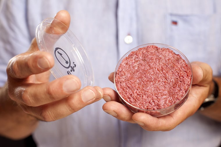 A lab-grown meat burger made from Cultured Beef, which has been developed by Professor Mark Post of Maastricht University in the Netherlands.  Issue date: Monday August 5, 2013. Cultured Beef could help solve the coming food crisis and combat climate...
