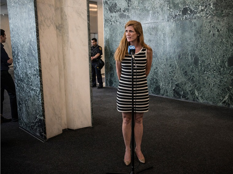 Samantha Power speaks to members of the media while arriving at the United Nations for the first time as the United States Ambassador to the UN on August 5, 2013 in New York City. Power was confirmed for the position by Congress on August 1, 2013, with...
