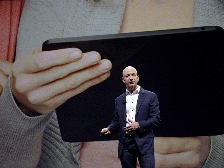 Jeff Bezos, CEO and founder of Amazon, at the introduction of the new Amazon Kindle Fire HD, in Santa Monica, California, September 2012. (Photo by Reed Saxon/AP)