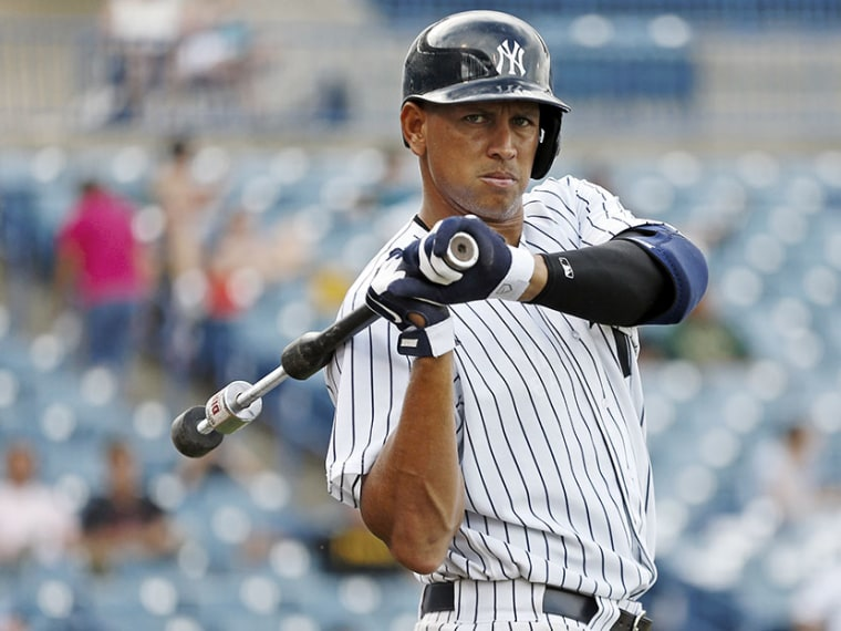 New York Yankees' Alex Rodriguez waits on deck while playing for the Tampa Yankees during the sixth inning of a minor league baseball game against the Bradenton Marauders in Tampa, Fla., July 13, 2013. (Photo by Mike Carlson/Reuters)