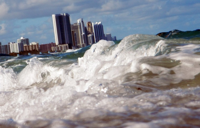 Buildings are seen near the ocean as reports indicate that Miami-Dade County could be one of the most susceptible places when it comes to rising water levels due to global warming, on March 14, 2012 in North Miami, Florida. (Photo by Joe Raedle/Getty)