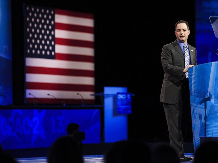 Reince Priebus, Chairman of the Republican National Committee, speaks at the 2013 Conservative Political Action Conference (CPAC) March 16, 2013, in National Harbor, Maryland. (Photo by Pete Marovich/Getty)