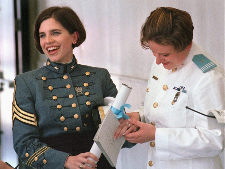Nancy Ruth Mace becomes the first female graduate of The Citadel, Saturday, May 8, 1999, in Charleston, South Carolina. (Photo by Mic Smith/AP)
