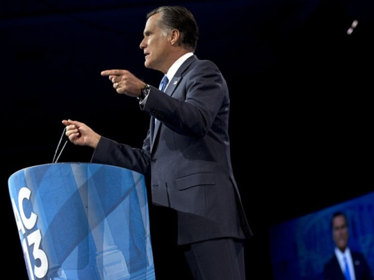 Former Massachusetts Gov., and 2012 Republican presidential candidate, Mitt Romney gestures as he speaks at the 40th annual Conservative Political Action Conference in National Harbor, Md., Friday, March 15, 2013. (Photo by Jacquelyn Martin/AP)