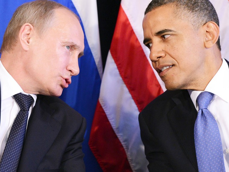 US President Barack Obama (R) listens to Russian President Vladimir Putin during a bilateral meeting in Los Cabos on June 18, 2012 on the sidelines of the G20 summit.   (Photo Jewel Samad/AFP/Getty Images)
