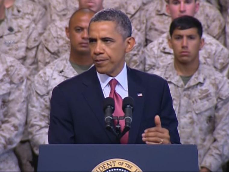 President Barack Obama addresses troops at Camp Pendelton.