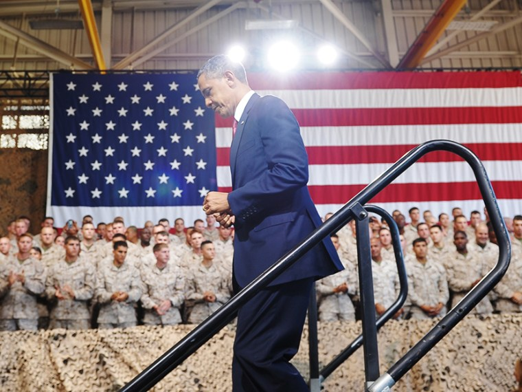 US President Barack Obama steps off stage after speaking to Marines at Camp Pendleton in California on August 7, 2013. (Photo by Mandel Ngan/AFP/Getty)