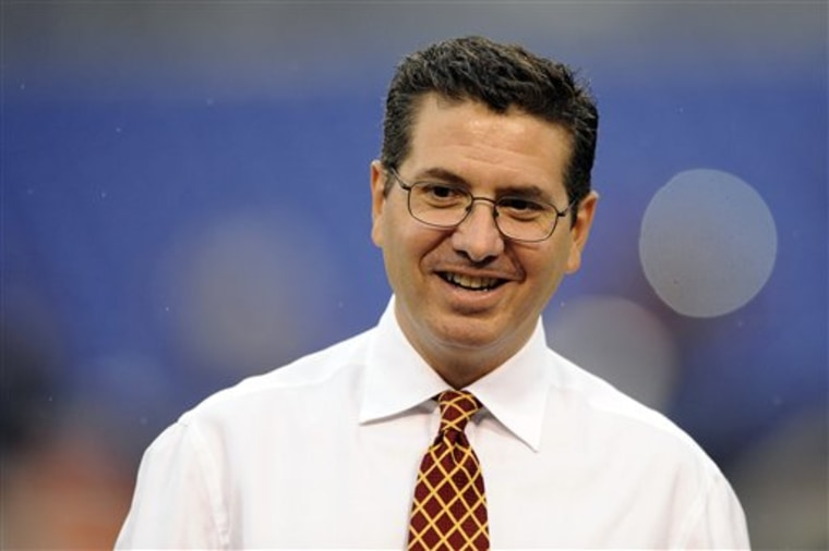 Washington Redskins owner Dan Snyder walks across the field before a preseason NFL football game against the against the Baltimore Ravens in Baltimore, Thursday, Aug. 25, 2011. (AP Photo/Nick Wass)