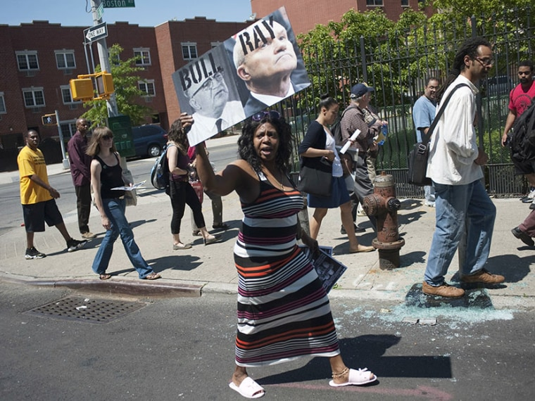 Protesters take part in a rally against the NYPD's stop and frisk policy in the Bronx borough of New York May 13, 2012. (Photo by Keith Bedford/Reuters)