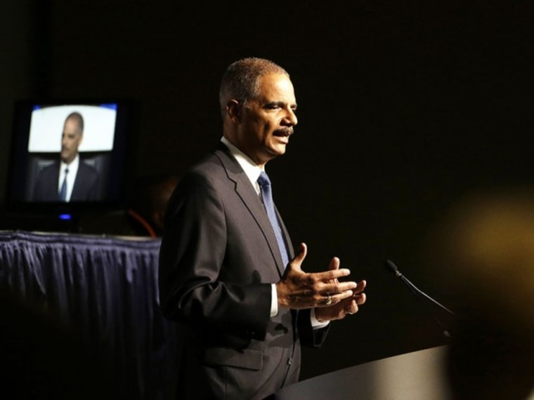 United States Attorney Gen. Eric Holder speaks to the American Bar Association Annual Meeting Monday, Aug. 12, 2013, in San Francisco. (Eric Risberg/AP)