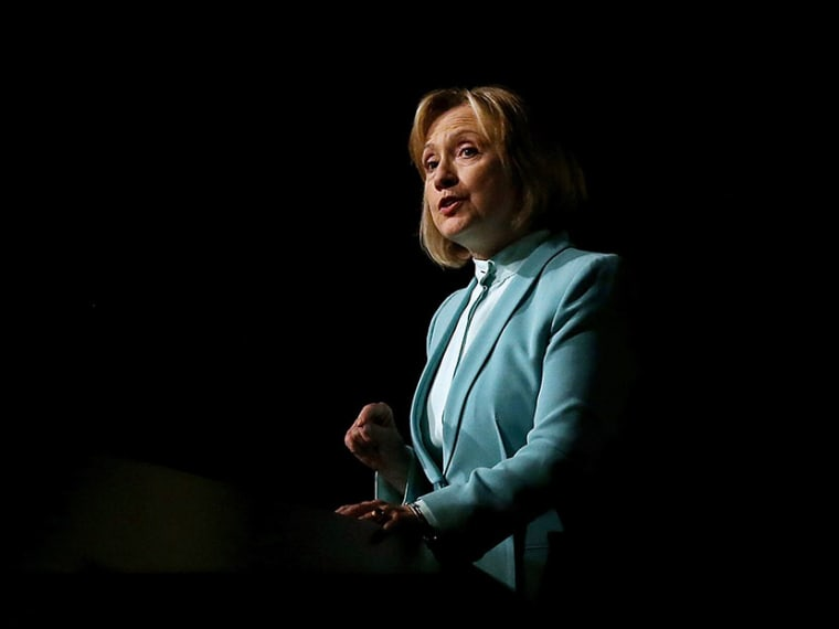 Former U.S. Secretary of State Hillary Clinton speaks during the 2013 America Bar Association's annual meeting on August 12, 2013 in San Francisco, California. (Photo by Justin Sullivan/Getty)