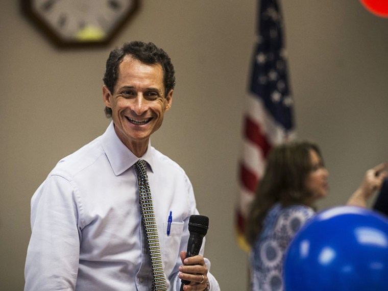 New York City mayoral candidate and former U.S. Rep. Anthony Weiner speaks to seniors at Elmhurst Senior Center on August 5, 2013 in New York City. (Photo by Andrew Burton/Getty)