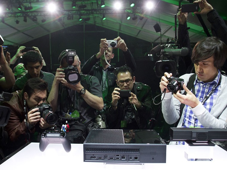 Press photograph Xbox One following the Xbox One reveal event on Tuesday, May 21, 2013, in Redmond, Wash. (Photo by Karen Ducey/Invision for Microsoft/AP)