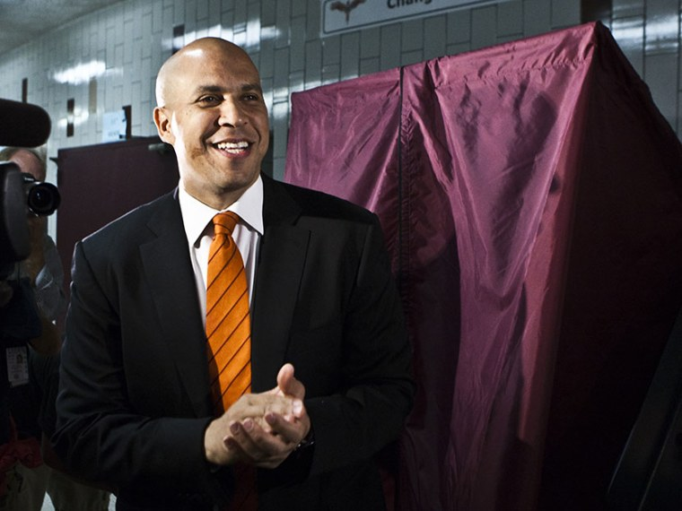 Newark Mayor and Senate candidate Cory Booker attends special-election primary in a polling center as he cast his vote on August 13, 2013 in Newark, N.J. (Photo by Kena Betancur/Getty)