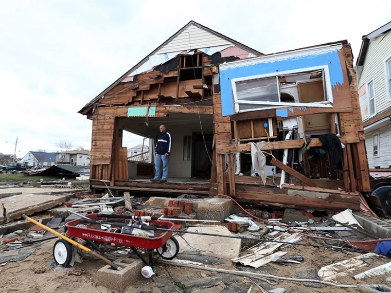 A home that was destroyed by Hurricane Sandy on October 31, 2012 in Lindenhurst, New York. (Photo by Bruce Bennett/Getty)