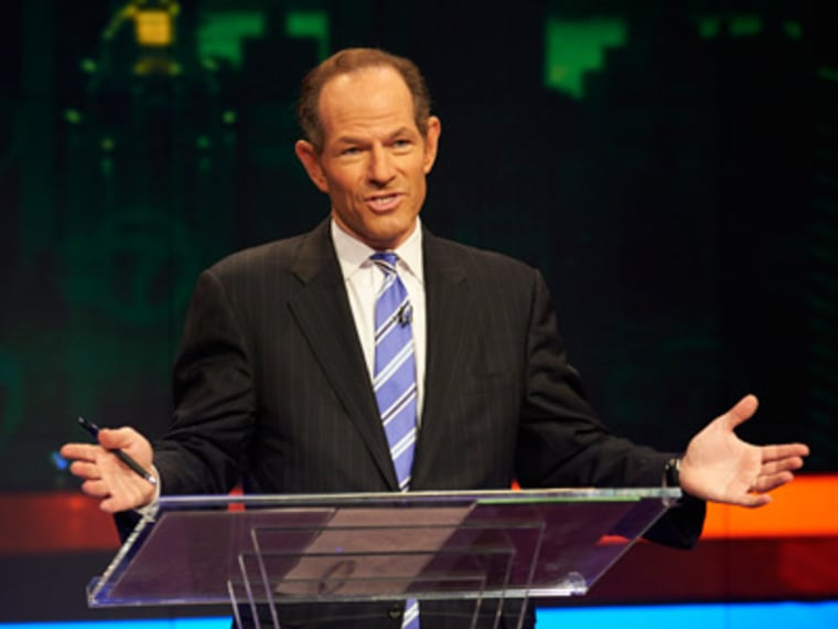 Former New York Gov. Eliot Spitzer in the first primary debate for New York City comptroller on Aug. 9, 2013 in New York. (Photo by James Keivom/New York Daily News/AP)
