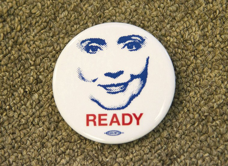 "Buttons at the ""Ready for Hillary"" campaign office in Virginia, August 15, 2013. (Photo by Rex Features/AP)"
