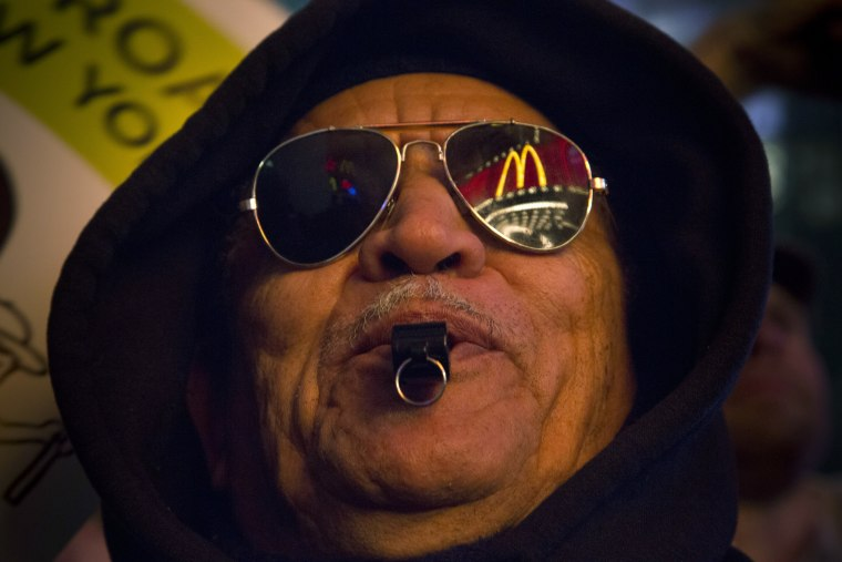 Building momentum:  Leonardo Vargas of Brooklyn protested for higher wages outside McDonald's in Times Square in 2012.
