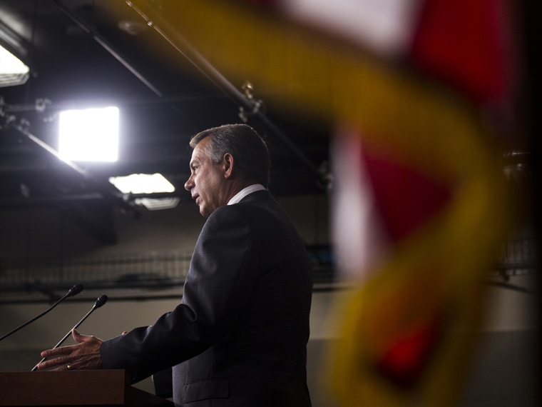 Speaker of the House John Boehner, speaks to the media about the pending immigration bill, and the gun amendments that failed to pass in the Senate, in the US Capitol in Washington, DC.