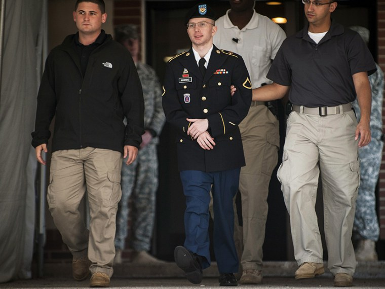 Bradley Manning is escorted out of court  - 08/22/2013
