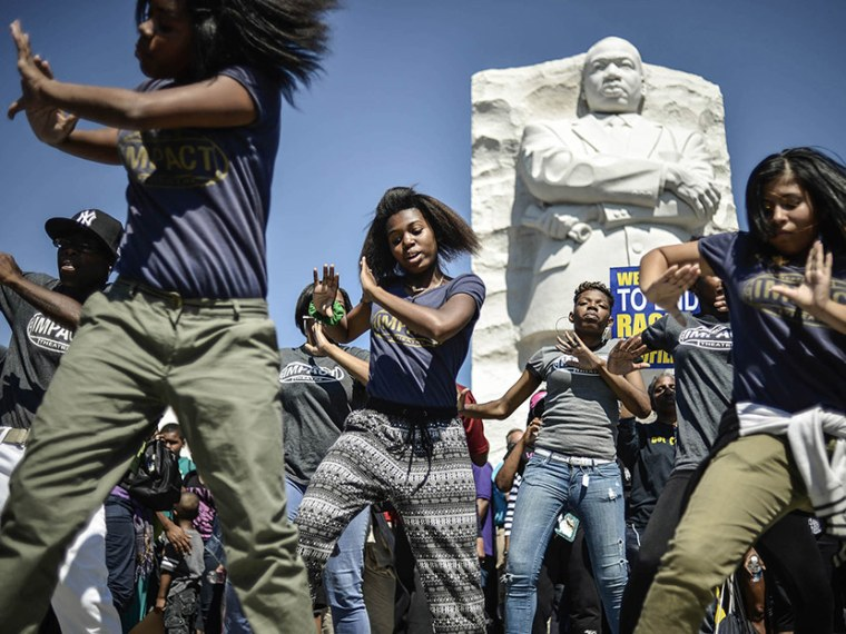 Dancers from the Impact Repertory Theater perform at the Martin Luther King Jr. Memorial
