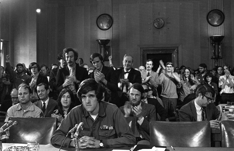 John Kerry, 27, testifies about the war in Vietnam before the Senate Foreign Relations Committee in Washington, April 22, 1971.